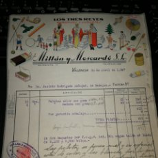 Facturas antiguas: L9S TRES REYES JUGUETES. VALENCIA 1947. Lote 157121956