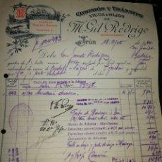 Facturas antiguas: M. GIL RODRÍGUEZ. IRUN 1924.. Lote 157124224