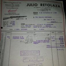 Facturas antiguas: JULIO RETALAZA. EIBAR. FABRICA DE ESOPETAS DE CAZA. 1940. Lote 157124342