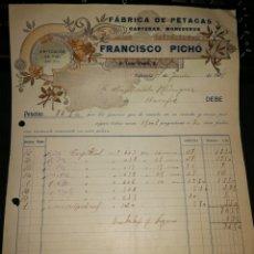 Facturas antiguas: FABRICA DE PETACAS. FRANCISCO PICHO. VALENCIA. 1918. Lote 157124786