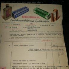Facturas antiguas: DENTICHLOR. S. L. BARCELONA 1945. Lote 157128348