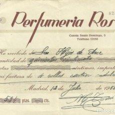 Facturas antiguas: RECIBO DE PAGO *PERFUMERIA ROS.* AÑO 1955. Lote 158792530