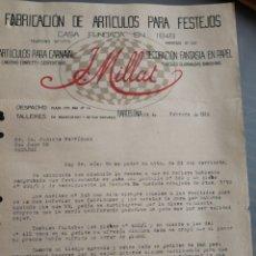 Facturas antiguas: ARTICULOS PARA FESTEJOS. BARCELONA 1916. Lote 158910821