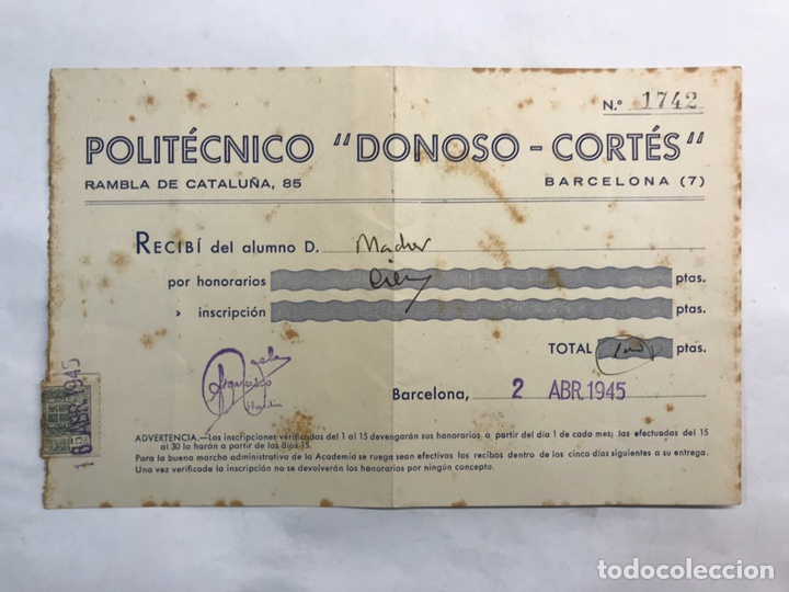 BARCELONA. FACTURA RECIBO MENSUALIDAD POLITÉCNICO DONOSO CORTES (A.1945) (Coleccionismo - Documentos - Facturas Antiguas)