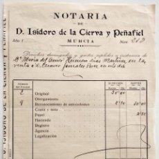 Facturas antiguas: RECIBO DE LA NOTARÍA DE D. ISIDORO DE LA CIERVA Y PEÑAFIEL - MURCIA AÑO 1931 - CON FIRMA DEL MISMO. Lote 159788154