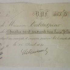 Facturas antiguas: LOTE DE DOS FACTURAS ANTIGUAS DE VALDESPINO AÑO1891 POR J G GUIRAUD, BOURDEAUX. Lote 158990878