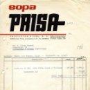 Facturas antiguas: ANTIGUA FACTURA DE SOPA PRISA - PRODUCTOS RIERA, S. A. - BARCELONA 1962. Lote 160341326