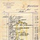 Facturas antiguas: ANTIGUA FACTURA DE J. MORATONA - MONTCADA I REIXAC (BARCELONA) 1934 - EN CATALÁN. Lote 160347434