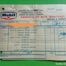 Facturas antiguas: ANTIGA FACTURA GASOLINEIRA MOBIL.PORTUGAL 1964. Lote 160862862