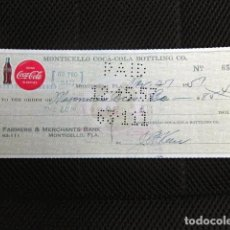 Facturas antiguas: COCA COLA TALON CHEQUE USA 1957 MONTICELLO ORIGINAL EPOCA REFRESCOS LOGO MARKETING. Lote 160959882