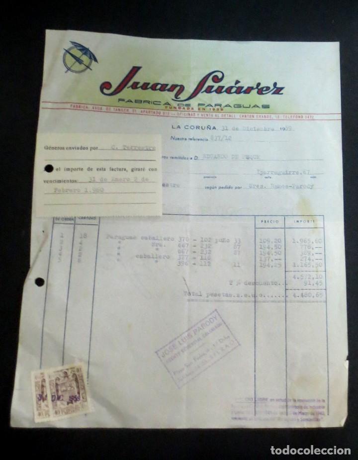 FACTURA JUAN SUÁREZ FÁBRICA DE PARAGUAS LA CORUÑA AÑO 1959 (Coleccionismo - Documentos - Facturas Antiguas)