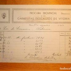 Facturas antiguas: FACTURA - PROCURA PROVINCIAL DE LOS CARMELITAS DESCALZOS DE VITORIA - AÑO 1943. Lote 157355858