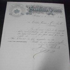 Facturas antiguas: FACTURA DE MATARO BARCELONA FRANCISCO PONSA FABRICA GENEROS DE PUNTO 1902. Lote 161813130