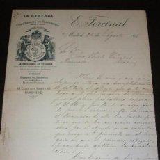 Fatture antiche: FACTURA DE MADRID LA CENTRA FABRICA DE PERFUMERIA JABONES FINOS PUENTE VALLECAS DE E. FORCINAL 1895. Lote 161813498
