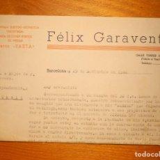 Facturas antiguas: FACTURA - FELIX GARAVENTA - TORRES AMAT, 3 - BARCELONA 1940. Lote 162491698