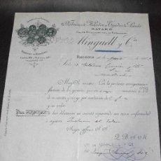 Facturas antiguas: FACTURA DE BARCELONA FABRICA DE HILADOS TEJIDOS PUNTO MATARO - MINGUELL Y CIA. 1902. Lote 162763014