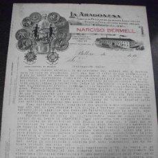 Fatture antiche: FACTURA CARTA DE BILBAO LA ARAGONESA FABRICA PRODUCTOS QUIMICOS LEGIA BOLSAS PAPEL NARCISO BERMELL. Lote 162776374
