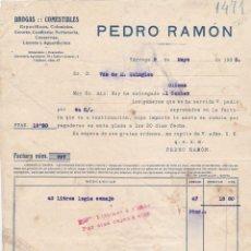 Facturas antiguas: FACTURA PEDRO RAMON, TARREGA, OLIANA 1923. Lote 162948174