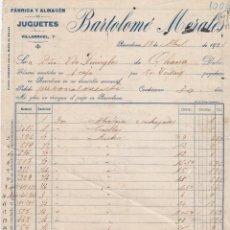 Facturas antiguas: FACTURA BARTOLOME MORALES, BARCELONA, OLIANA 1921. Lote 162948494