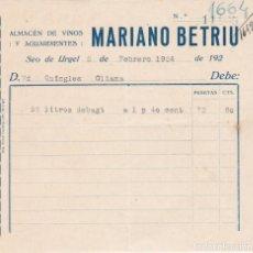 Facturas antiguas: FACTURA MARIANO BETRIU, SEO DE URGEL, OLIANA 1924. Lote 162948770