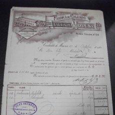 Facturas antiguas: FACTURA DE CIUDADELA DE MENORCA BALEARES FABRICA DE CALZADO ALZINA MOLES 1900. Lote 163032982