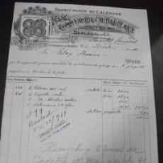 Facturas antiguas: FACTURA DE CIUDADELA DE MENORCA BALEARES FABRICA DE CALZADO COMP. FABRIL CIUDADELANA DE MERCADAL 191. Lote 163033542
