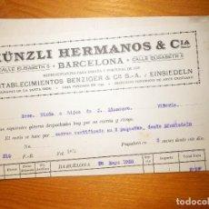 Factures anciennes: ANTIGUA FACTURA COMERCIAL - KUNZLI HERMANOS & CIA - C/ ELISABETH, 5 - BARCELONA - AÑO 1920 . Lote 163388174