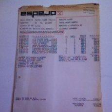 Facturas antiguas: FACTURA - ESPEJO- PORCELANA. OLLERIA( VALENCIA) 1978. Lote 163485964