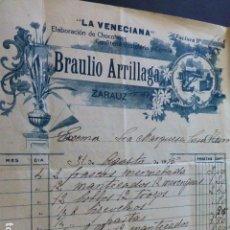 Facturas antiguas: ZARAUZ GUIPUZCOA CONFITERIA LA VENECIANA BRAULIO ARRILLAGA 1915 MARQUESA DE CASA TORRE. Lote 163771246