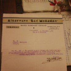 Facturas antiguas: ALMACENES LOS MUCHACHOS. CACERES 5 NOVIEMBRE 1939. AÑO DE LA VICTORIA. Lote 163788716