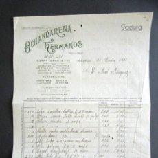 Facturas antiguas: AÑO 1931. FACTURA ANTIGUA. MADRID. OCHANDARENA HERMANOS. HERRAMIENTAS, APARATOS, ETC. . Lote 165217730