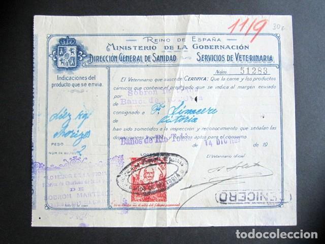 AÑO 1929. FACTURA ANTIGUA. BAÑOS DEL RÍO TOBIA. MINISTERIO DE LA GOBERNACIÓN. VETERINARÍA. (Coleccionismo - Documentos - Facturas Antiguas)