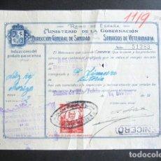 Facturas antiguas: AÑO 1929. FACTURA ANTIGUA. BAÑOS DEL RÍO TOBIA. MINISTERIO DE LA GOBERNACIÓN. VETERINARÍA. . Lote 165220758
