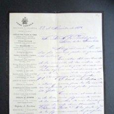 Facturas antiguas: AÑO 1892. FACTURA ANTIGUA. JOSÉ ORTEGA. VALENCIA. CARTELES PLAZA DE TOROS, PROSPECTOS, BILLEATAJES... Lote 165222786