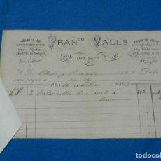 Facturas antiguas: (M2) FACTURA MEMBRETE - FRANCISCO VALLS , FABRICA DE GENEROS DE PUNTO, OLOT 1877. Lote 165956394