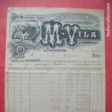 Facturas antiguas: M. VILA.-FABRICA DE PAÑUELOS Y PAÑETES.-LANA.-FACTURA.-SELLOS.-BARCELONA.-AÑO 1899.. Lote 166135534