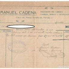 Facturas antiguas: DEBE / MANUEL CADENA - TRATANTE EN CARNES, CUEROS, SEBOS Y DESPOJOS / BARCELONA, 1913. Lote 166257398