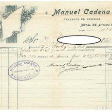 Facturas antiguas: DEBE / MANUEL CADENA - TRATANTE EN DESPOJOS - 7 NOVIEMBRE 1913. Lote 166263710