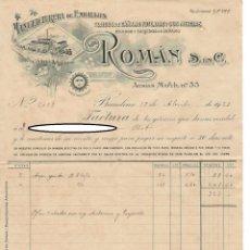 Facturas antiguas: FACTURA Y LETRA DE CAMBIO, BARCELONA 1923 / MANUFACTURERA DE EMBALAJES ROMÁN S. EN C.. Lote 166273106