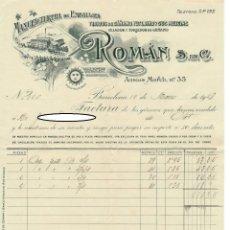 Facturas antiguas: FACTURA Y LETRA DE CAMBIO - BARCELONA 1928 / MANUFACTURERA DE EMBALAJES ROMÁN S. EN C.. Lote 166274350