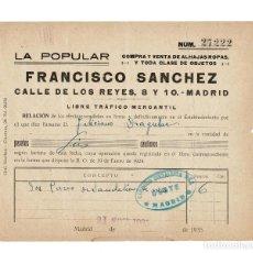 Facturas antiguas: FACTURA. LA POPULAR. FRANCISCO SANCHEZ. MADRID.1935. SELLO CIRCULO SOCIALISTA DEL OESTE. Lote 166428138