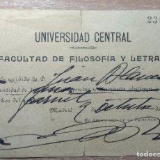 Facturas antiguas: DOCUMENTO DE PAGO UNIVERSIDAD CENTRAL MADRID 1908. Lote 166601018