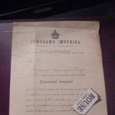Facturas antiguas: BARCELONA / PRE CINE 1891 - PANORAMA IMPERIAL C. PASAJE DEL CREDITO 2 ENTR. SERIES DE VIAJES CUYAS V. Lote 167974784