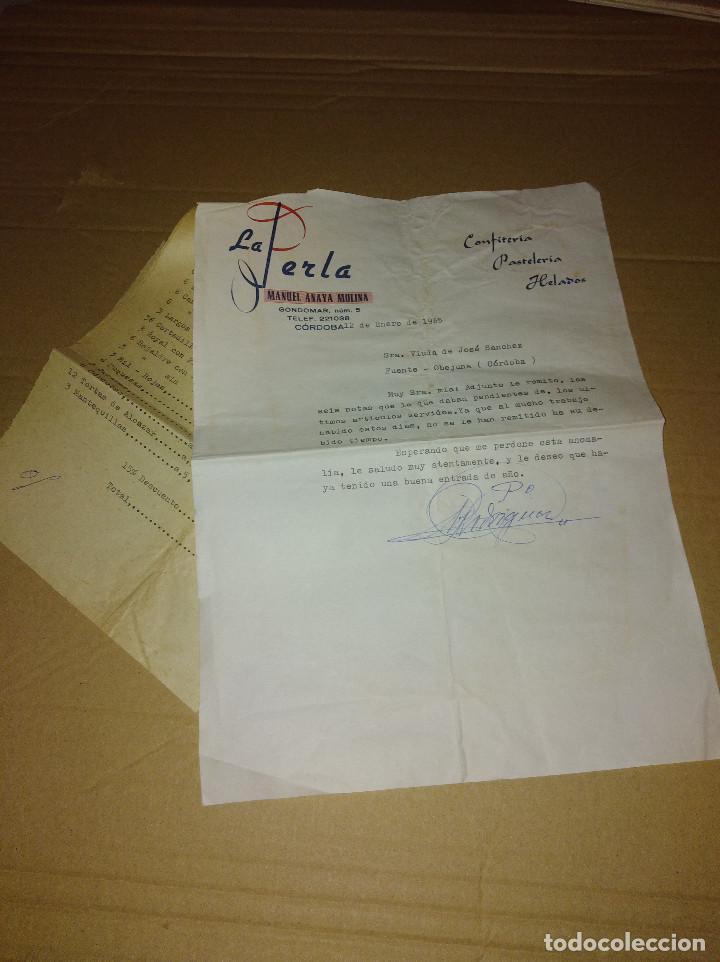 EXCELENTE LOTE CONFITERIA LA PERLA CORDOBA 1961 - 65 (Coleccionismo - Documentos - Facturas Antiguas)