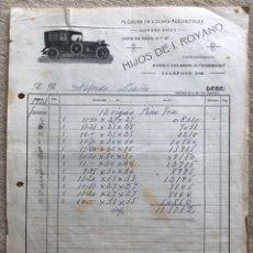 Fatture antiche: FACTURA HIJOS DE I. ROYANO - SANTANDER - ALQUILER DE COCHES AUTOMÓVILES - HISPANO SUIZA - AÑO 1923. Lote 169029128