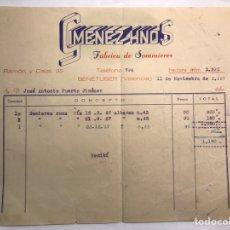 Facturas antiguas: FACTURAS. BENETUSER (VALENCIA) FABRICA DE SOMIERS. CURIOSA FACTURA COMPRA DE SOMIERS (A.1967). Lote 169680341