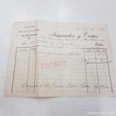 Facturas antiguas: FERNÁNDEZ Y TORRES. ALMACENES DE HIERROS,ACEROS. AÑO 1912. GARCYBARRA. CORUÑA. TDKP14. Lote 170027052