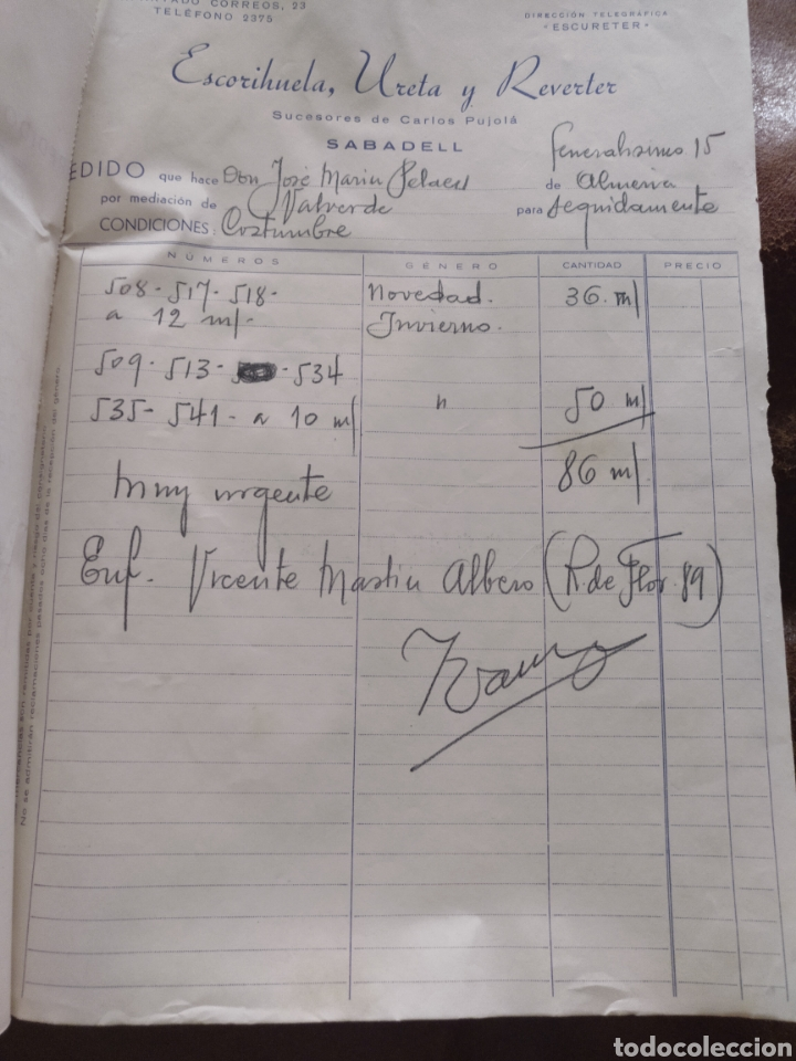 Facturas antiguas: Block pedidos Escorihuela, Ureta y Reverter, sucesores Carlos Pujolá. Sabadell. Agente Almería. 1945 - Foto 4 - 170252497