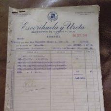 Facturas antiguas: 13 HOJAS DE PEDIDOS ESCORIHUELA Y URETA. SUCESORES CARLOS PUJOLÁ. SABADELL. 1946. ALMERÍA CAPITAL. Lote 170257028