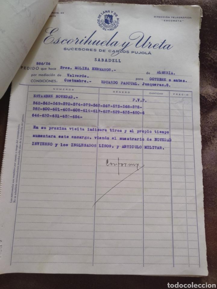 Facturas antiguas: 13 hojas de pedidos Escorihuela y Ureta. Sucesores Carlos Pujolá. Sabadell. 1946. Almería capital - Foto 4 - 170257028